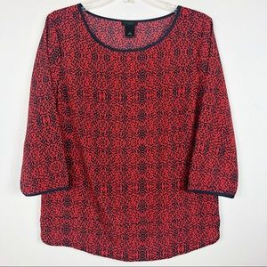 Ann Taylor Factory Tops - Ann Taylor Factory Red Leopard 3/4 Sleeve Blouse
